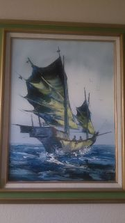 Original Kee Fung NG Oil Painting of Junk Boat I will be in Fairfield on Saturday June 16th if y...