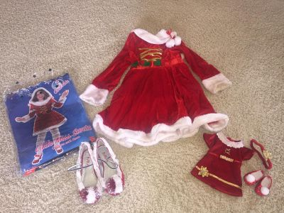 Christmas dress with matching doll dress
