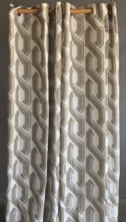 Yellow and grey curtain panels.