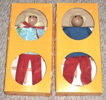 2 Dolls RARE New VINTAGE Boy & Girl Marionette Wooden String Puppet Doll Set from Germany