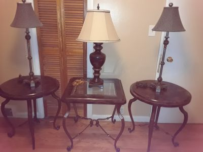 Marble and Glass end Tables and Lamps