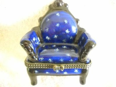 Glass Wingarm Chair Jewel Container Oval bottom Vintage