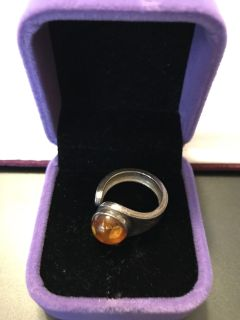Amber sterling ring.