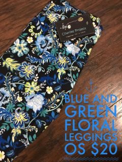 Floral Blue and Yellow Leggings OS