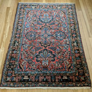 Persian Rug 3' 6 x 4' 11 Red Vintage Free Shipping
