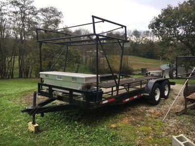 Ramp over trailer, flat trailer