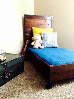 Industrial handmade toddler bed with mattress included