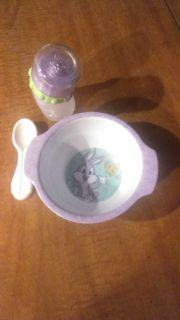 Doll bowl, spoon,and bottle