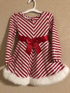 Bonnie Jean Christmas Peppermint Candy Red and White Sequence Gorgeous Dress With White Furry Trim. Size 5. FIRM