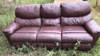 Burgundy leather sofa and recliner