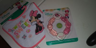 Minnie Mouse teether and bib unopened