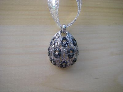 Sterling Silver and Blue Diamond Pendant