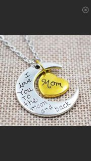 I Love You To the Moon and Back Silver Necklace Mom Dad Daughter Grandma Grandpa Family Necklace