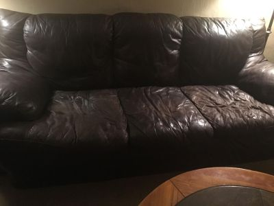 Super cozy brown leather couch