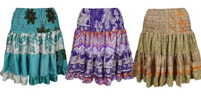 Boho Gypsy Hippie Dancing Skirts Vintage Recycled Ruffle Flare Skirt Lot Of 3