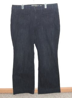 Style Co Flare Jeans Plus 20w x 32 Tall Stretch Dark Blue Button Flap Pockets