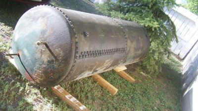 2 Tank Set 1920's Riveted Steel Vintage Steam Boiler and High Pressure Air Tank