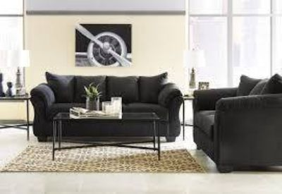 DARCY BLACK SOFA/LOVESEAT