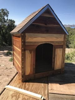 Rustic Red Wood Dog House (Handcrafted)
