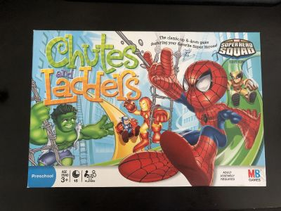 Super Hero Squad Chutes and Ladders. All pieces included.