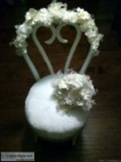 Vintage Antique Bridal Chair and Bouquet