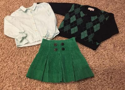 Girl s Outfit: Skirt with matching blouse and button up sweater, Size 4