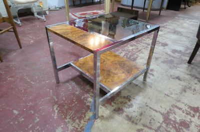 Vintage Mid century smoked glass and wood table