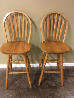 Two Wooden Swivel Barstools