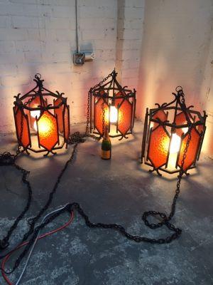 Three Vintage Spanish Gothic Pendant Lights