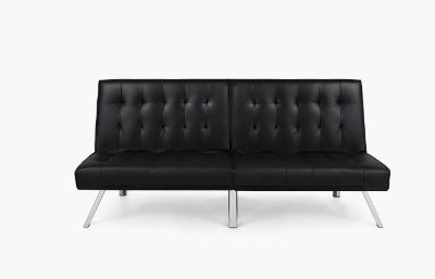 BCP Black Modern Futon Sofa Couch Chrome Legs