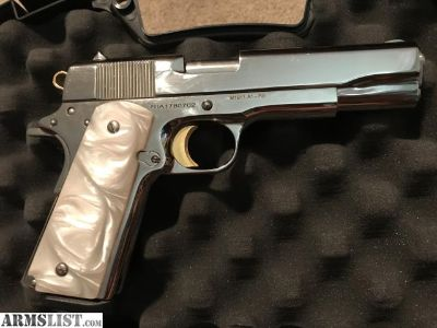 For Sale: Nickel Rock Island 1911 Pearl Grips 24k gold plated trigger & Hammer