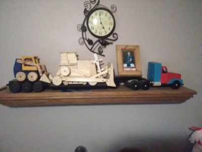 Hand made wooden toy semi trucks