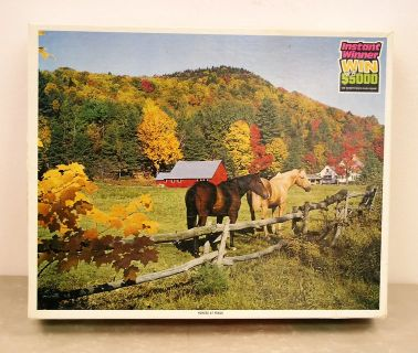 1000-piece jigsaw puzzle - Horses at Fence