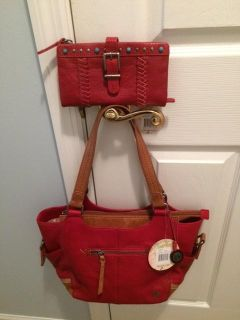 The Sak Kendra Red Satchel Purse and Wallet-Never Used