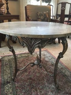 Marble table and iron base