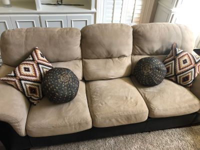 Tan Suede and Dark Brown Couch