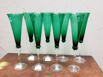 Lenox Holiday Gems Emerald Flutes - Vintage