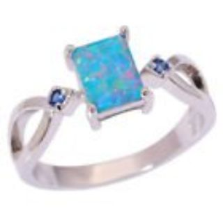 New - Blue Fire Opal and Tanzanite Silver Ring - Size 5