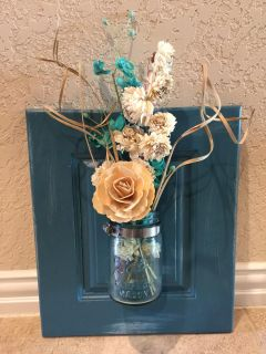 Shabby Chic Wall Decor with Blue (Turquoise) Ball Jar