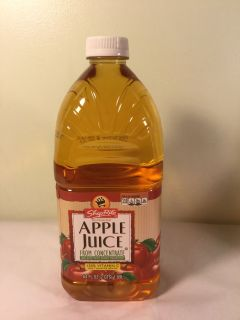 ShopRite apple juice from concentrate, 64 ounce. Expiration April 2020