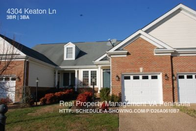 Well Maintained Townhome in Colonial Heritage in Williamsburg
