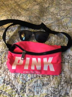 Pink Fanny pack with sunglasses