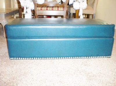 Beautiful Leather Ottaman With Nailheads