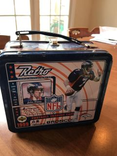 John Elway tin box, lunch box, storage for trading cards. Empty