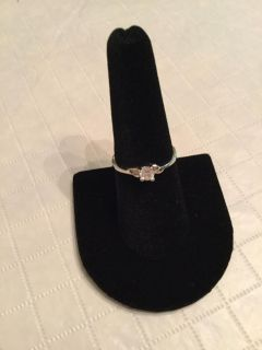 18K silver plated cubic zirconia ring size 7 1/2
