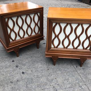 Wood mid century modern side tables