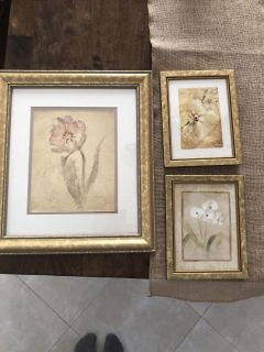 Set of 3 gold floral pictures
