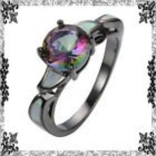 New - Rainbow Topaz and White Fire Opal Black Ring - Size 7