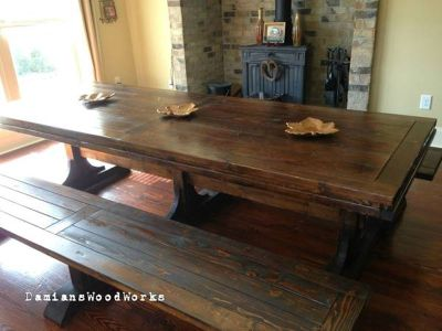 Custom Made 7 Foot Long Triple Pedestal Farmhouse Table!! $1,150