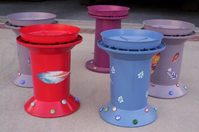 Fancy Hand Painted, Heavy Plastic Plant Stands